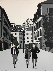 Rue de Lausanne.   Sion.   Suisse
